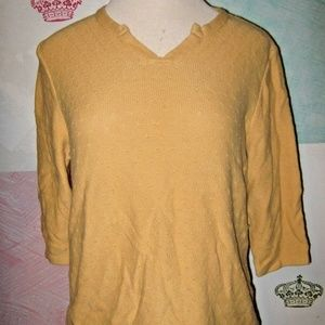 Mustard Yellow Pique Pattern V Neck Sweater 1X